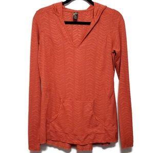 Prana Angie breathable mesh hoodie vneck rust/red